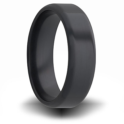 Black Zirconium 7mm Pipe Cut Ring with Rounded Edges