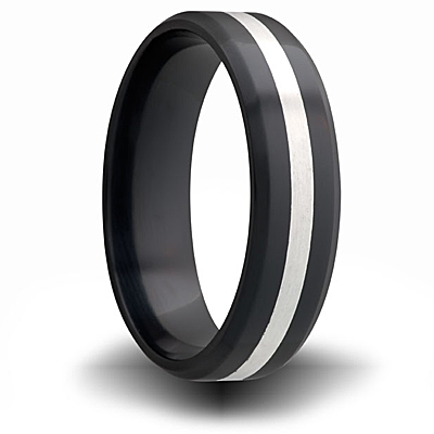 7mm Black Zirconium Flat Ring with Sterling Silver Inlay
