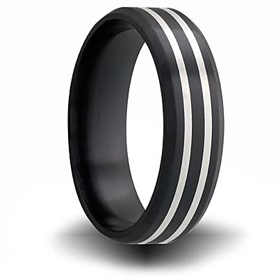 Black Zirconium 7mm Flat Ring with Two Sterling Silver Inlays