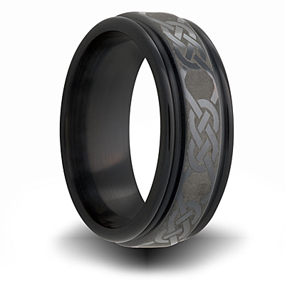 7mm Black Zirconium Channel Ring with Knot Design