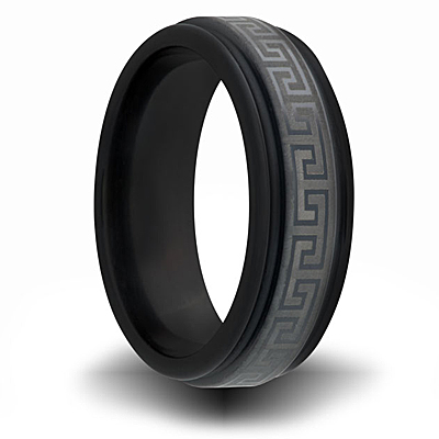 Black Zirconium 7mm Channel Ring with Greek Key Design