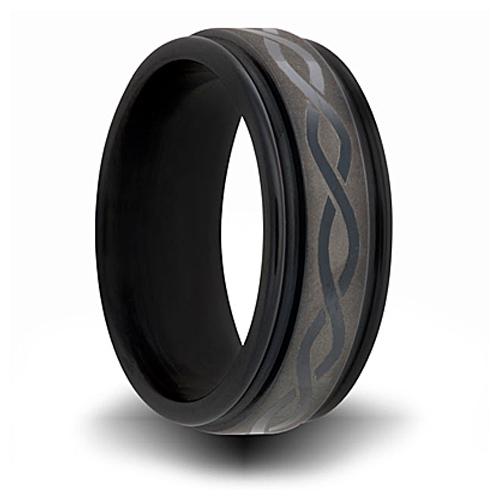 Black Zirconium 7mm Channel Ring with Helix Design