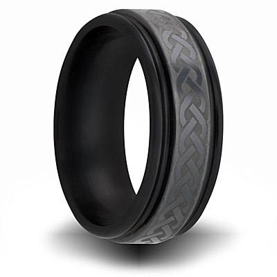 Black Zirconium 7mm Channel Ring with Weave Design