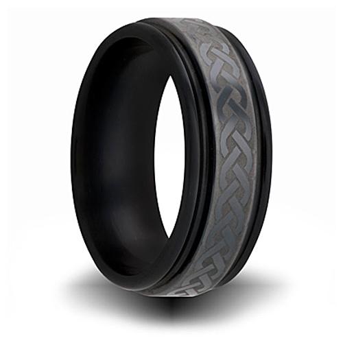 7mm Black Zirconium Channel Ring with Weave Design
