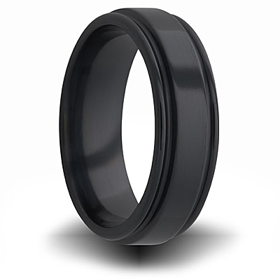 7mm Black Zirconium Pipe Cut Ring with Channels
