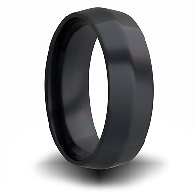 7mm Black Zirconium Beveled Cut Ring