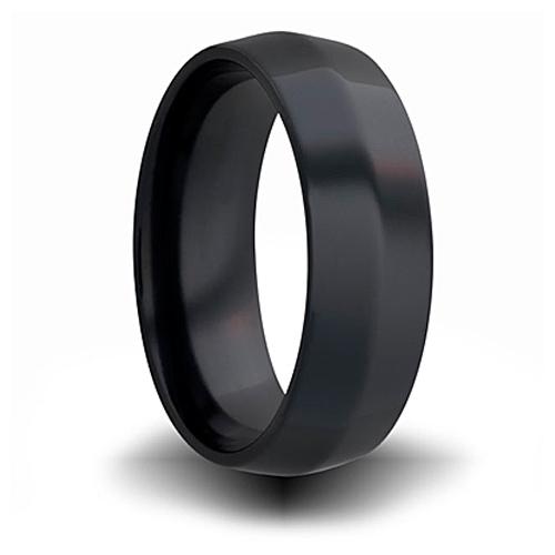 7mm Black Zirconium Beveled Cut Ring