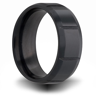 Black Zirconium 7mm Ring with Panels