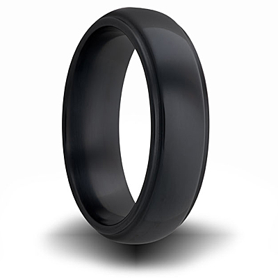 Black Zirconium 7mm Domed Ring with Grooved Edges