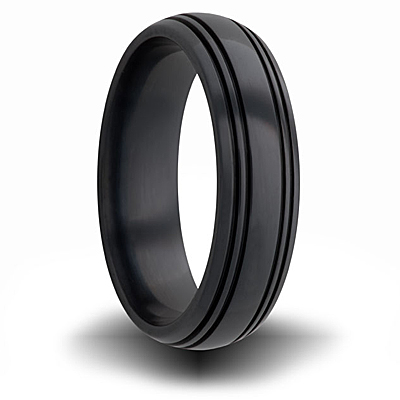 Black Zirconium 7mm Domed Ring with Channels
