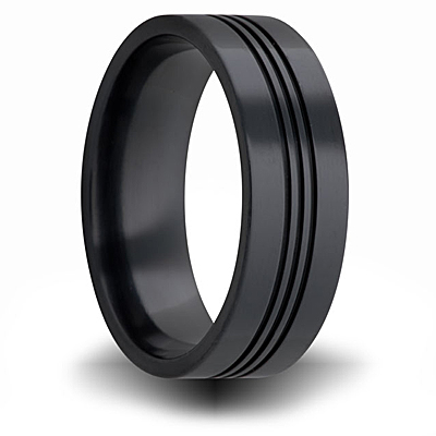 Black Zirconium 7mm Flat Ring with Channels