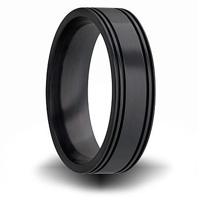 7mm Black Zirconium Flat Ring with Channels