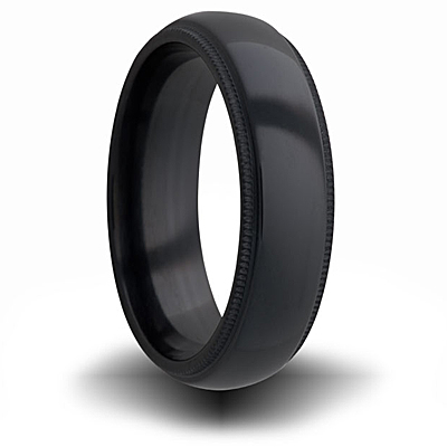 Black Zirconium 7mm Domed Milgrain Ring