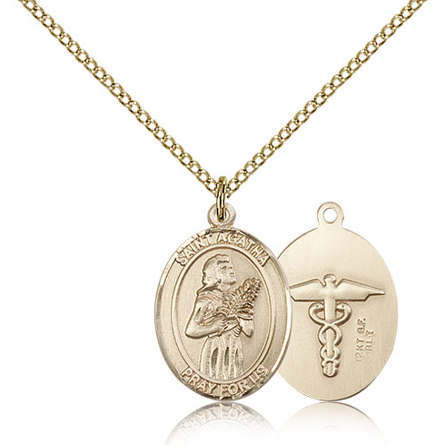 Gold Filled 3/4in St Agatha Nurse Medal & 18in Chain