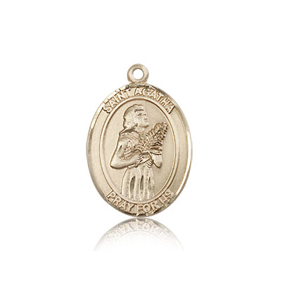 14kt Yellow Gold 3/4in St Agatha Medal