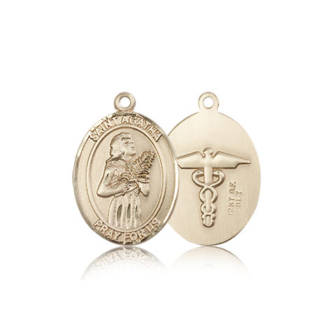 14kt Yellow Gold 3/4in St Agatha Nurse Medal