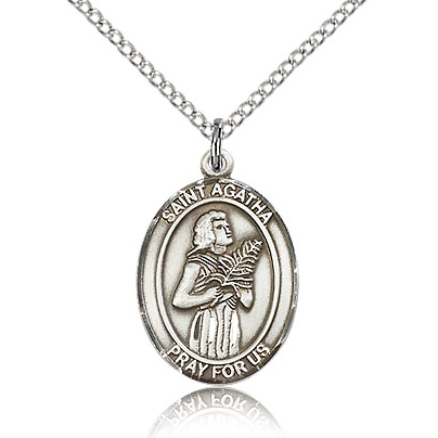 Sterling Silver 3/4in St Agatha Medal & 18in Chain