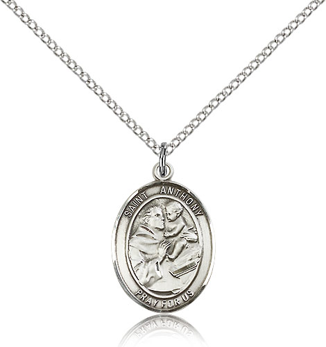 Sterling Silver 3/4in St Anthony Medal & 18in Chain