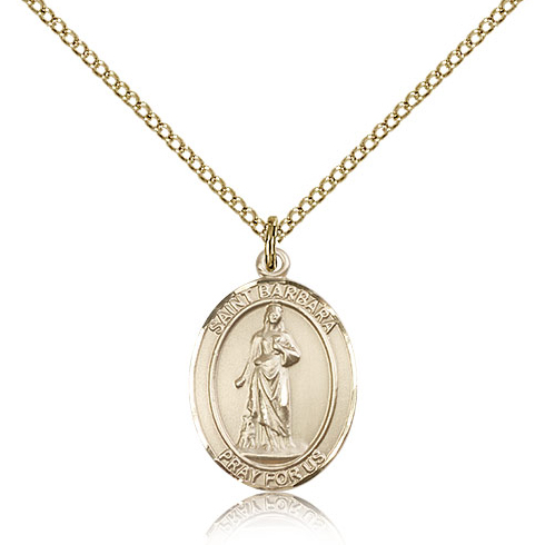 Gold Filled 3/4in St Barbara Medal & 18in Chain