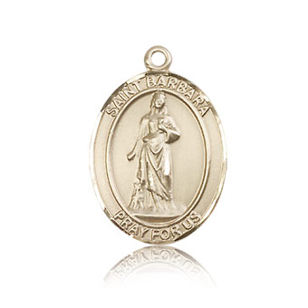 14kt Yellow Gold 3/4in St Barbara Medal