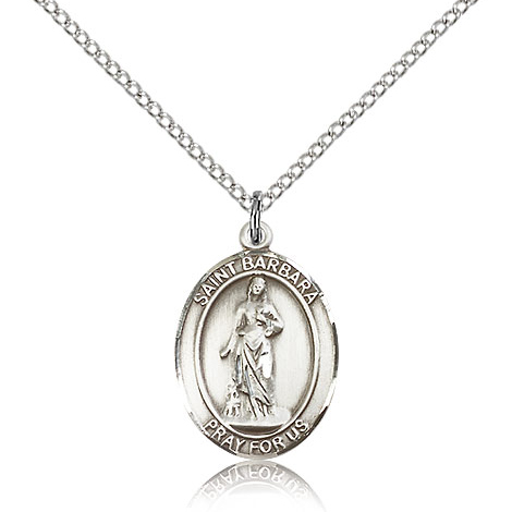 Sterling Silver 3/4in St Barbara Medal & 18in Chain