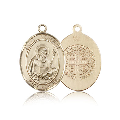 14kt Yellow Gold 3/4in St Benedict Medal