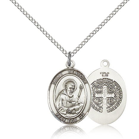 Sterling Silver 3/4in St Benedict Medal & 18in Chain