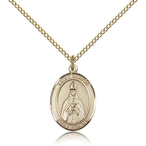 Gold Filled 3/4in St Blaise Medal & 18in Chain