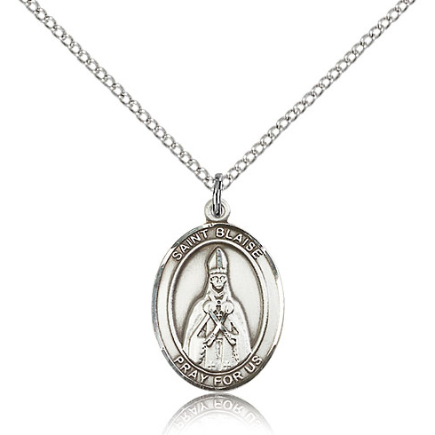 Sterling Silver 3/4in St Blaise Medal & 18in Chain