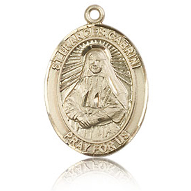 14kt Yellow Gold 3/4in St Frances Cabrini Medal