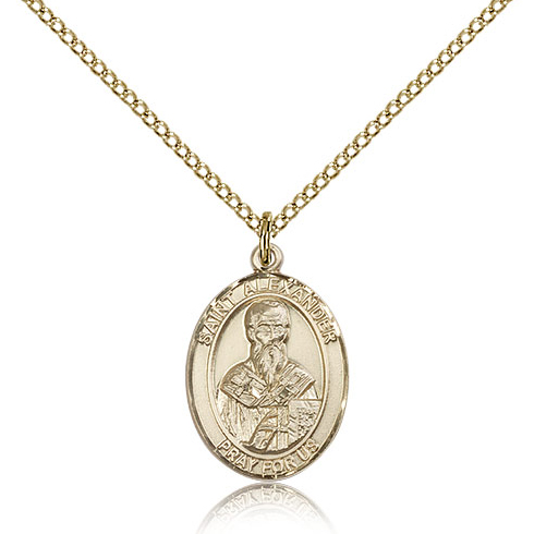 Gold Filled 3/4in St Alexander Medal & 18in Chain