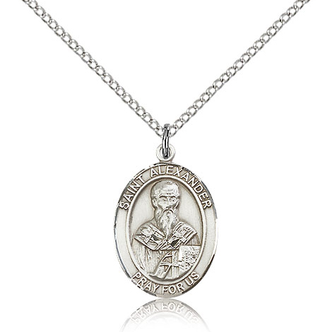 Sterling Silver 3/4in St Alexander Medal & 18in Chain