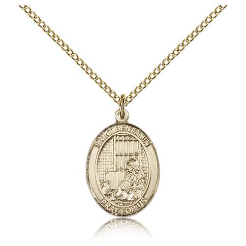 Gold Filled 3/4in St Benjamin Medal & 18in Chain