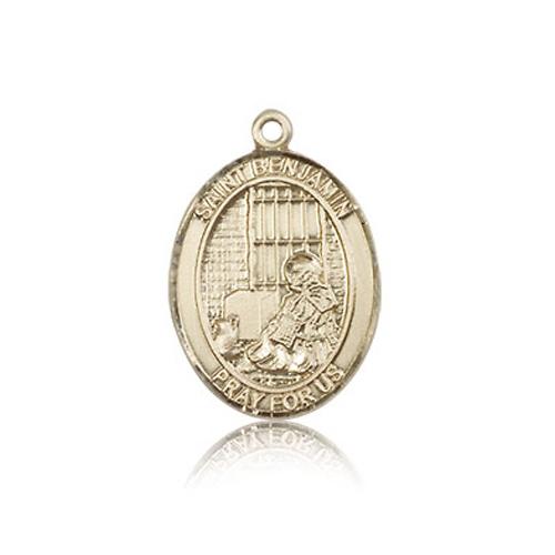 14kt Yellow Gold 3/4in St Benjamin Medal
