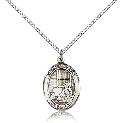Sterling Silver 3/4in St Benjamin Medal & 18in Chain