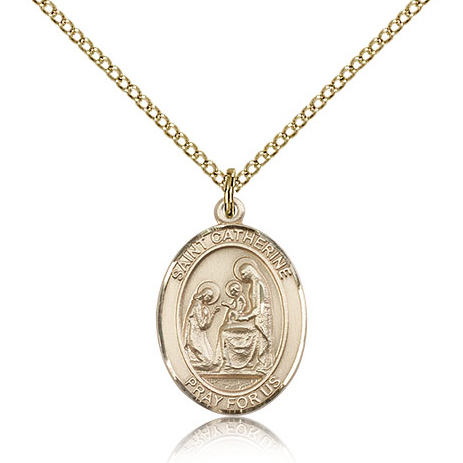 Gold Filled 3/4in St Catherine of Siena Medal & 18in Chain