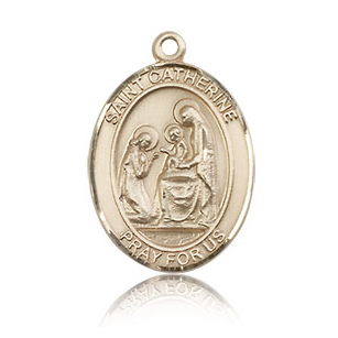 14kt Yellow Gold 3/4in St Catherine of Siena Medal