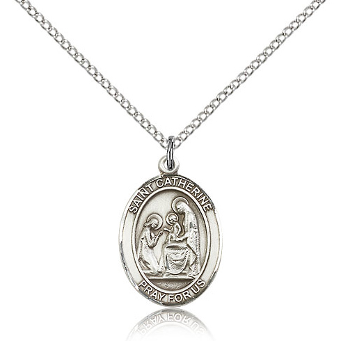 Sterling Silver 3/4in St Catherine of Siena Medal & 18in Chain