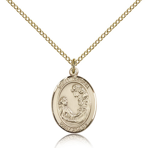 Gold Filled 3/4in St Cecilia Medal & 18in Chain