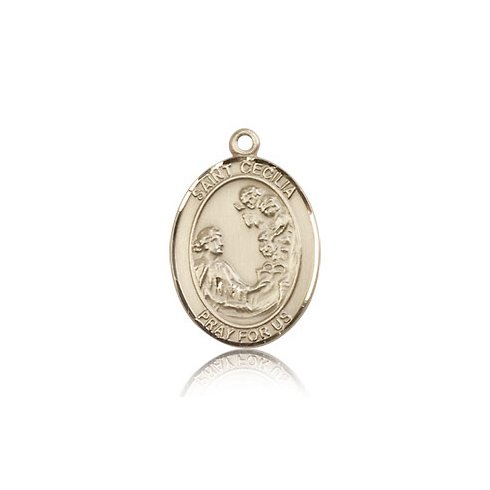 14kt Yellow Gold 3/4in St Cecilia Medal