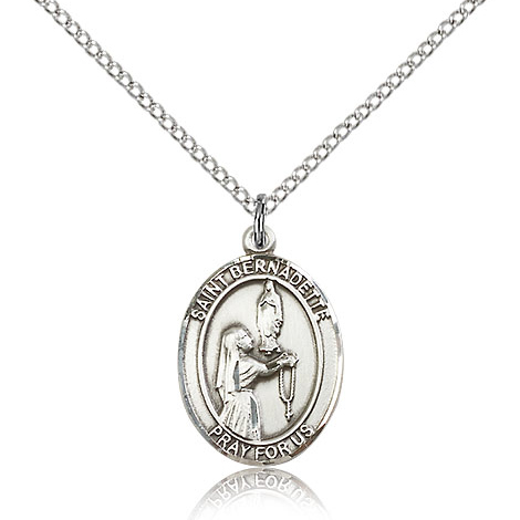 Sterling Silver 3/4in St Bernadette Medal & 18in Chain