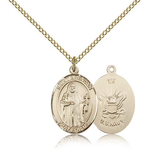 Gold Filled 3/4in St Brendan Navy Medal & 18in Chain