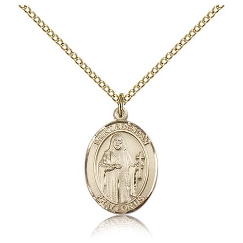 Gold Filled 3/4in St Brendan Medal & 18in Chain