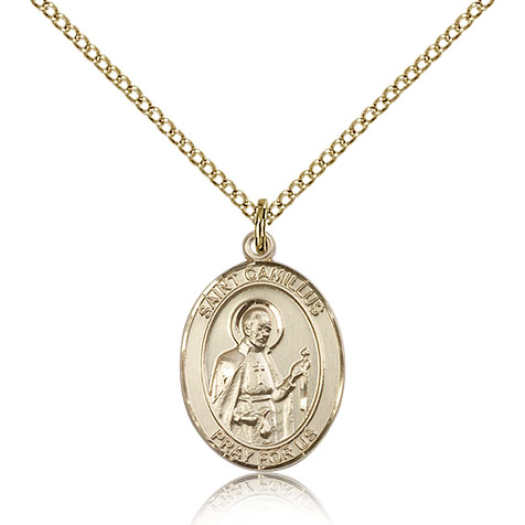 Gold Filled 3/4in St Camillus Medal & 18in Chain