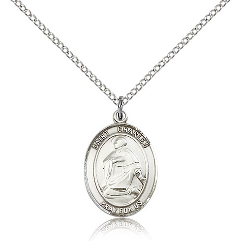Sterling Silver 3/4in St Charles Medal & 18in Chain