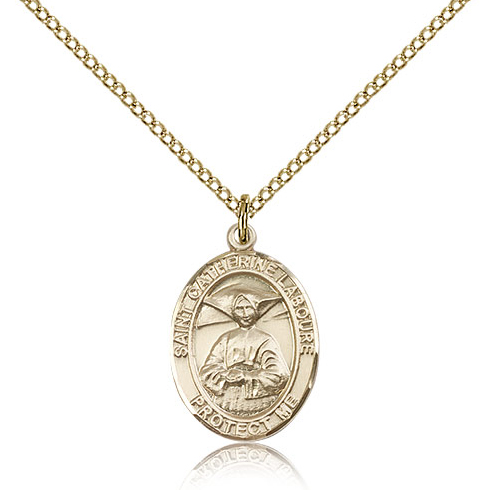 Gold Filled 3/4in St Catherine Laboure Medal & 18in Chain