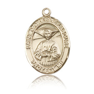 14kt Yellow Gold 3/4in St Catherine Laboure Medal
