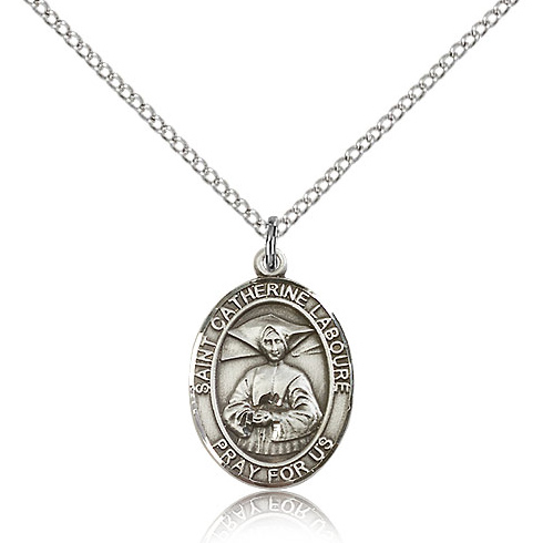 Sterling Silver 3/4in St Catherine Laboure Medal & 18in Chain