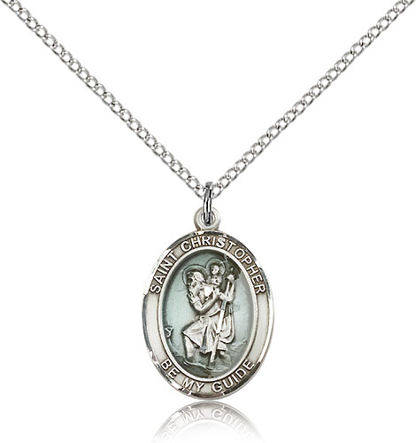 Sterling Silver 3/4in Blue St Christopher Medal Be My Guide & 18in Chain