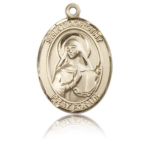14kt Yellow Gold 3/4in St Dorothy Medal